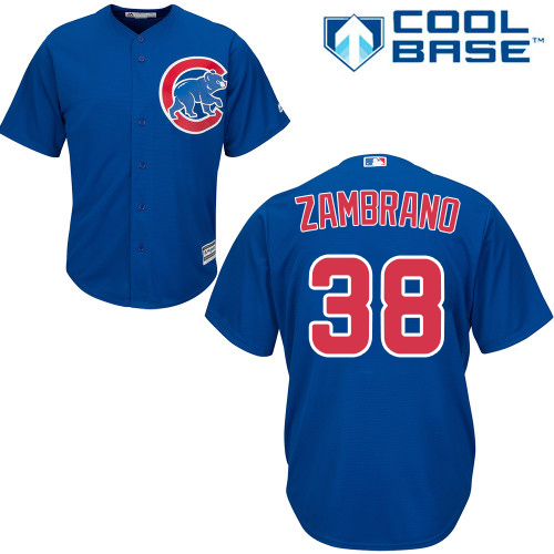 Youth Majestic Chicago Cubs #38 Carlos Zambrano Authentic Royal Blue Alternate Cool Base MLB Jersey
