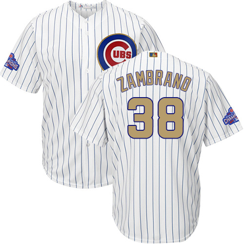 Youth Majestic Chicago Cubs #38 Carlos Zambrano Authentic White 2017 Gold Program Cool Base MLB Jersey