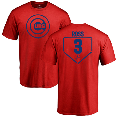 MLB Nike Chicago Cubs #3 David Ross Red RBI T-Shirt