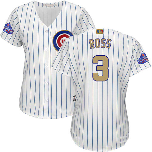 Women's Majestic Chicago Cubs #3 David Ross Authentic White 2017 Gold Program MLB Jersey