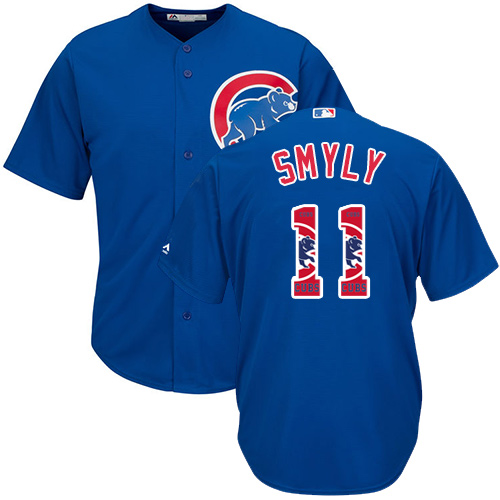 Men's Majestic Chicago Cubs #11 Drew Smyly Authentic Royal Blue Team Logo Fashion Cool Base MLB Jersey