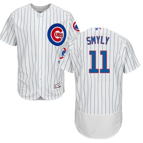 Men's Majestic Chicago Cubs #11 Drew Smyly White Home Flex Base Authentic Collection MLB Jersey