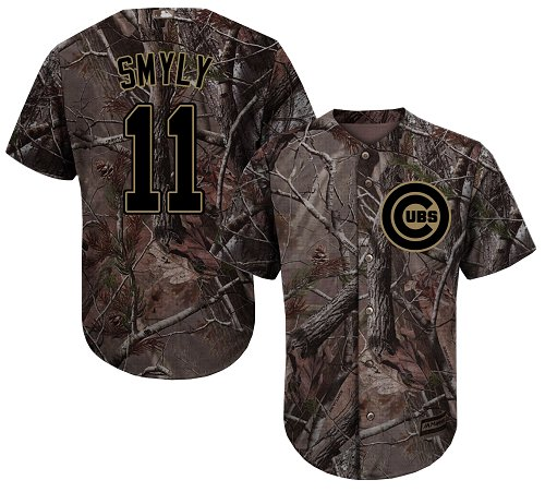 Youth Majestic Chicago Cubs #11 Drew Smyly Authentic Camo Realtree Collection Flex Base MLB Jersey