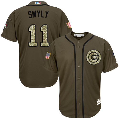 Youth Majestic Chicago Cubs #11 Drew Smyly Authentic Green Salute to Service MLB Jersey
