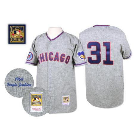 Men's Mitchell and Ness 1968 Chicago Cubs #31 Fergie Jenkins Authentic Grey Throwback MLB Jersey