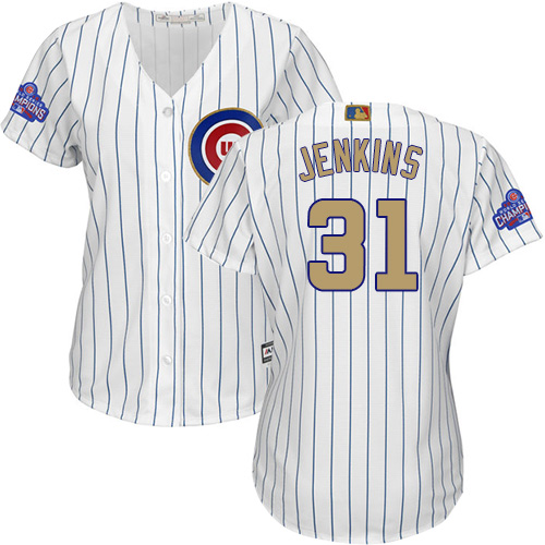 Women's Majestic Chicago Cubs #31 Fergie Jenkins Authentic White 2017 Gold Program MLB Jersey