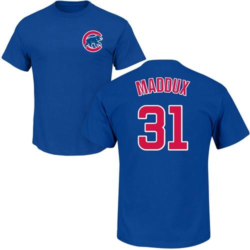 MLB Nike Chicago Cubs #31 Greg Maddux Royal Blue Name & Number T-Shirt