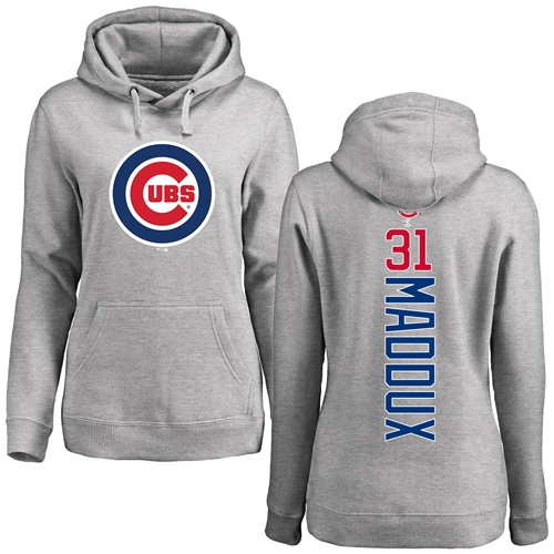 MLB Women's Nike Chicago Cubs #31 Greg Maddux Ash Backer Pullover Hoodie