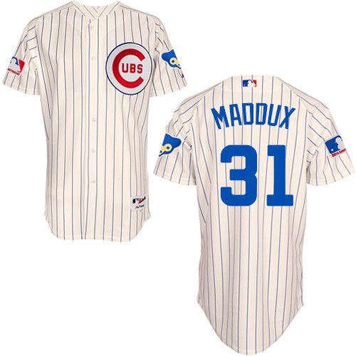 Men's Majestic Chicago Cubs #31 Greg Maddux Authentic Cream 1969 Turn Back The Clock MLB Jersey