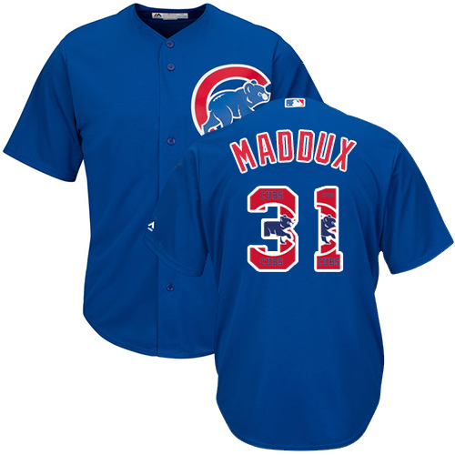 Men's Majestic Chicago Cubs #31 Greg Maddux Authentic Royal Blue Team Logo Fashion Cool Base MLB Jersey