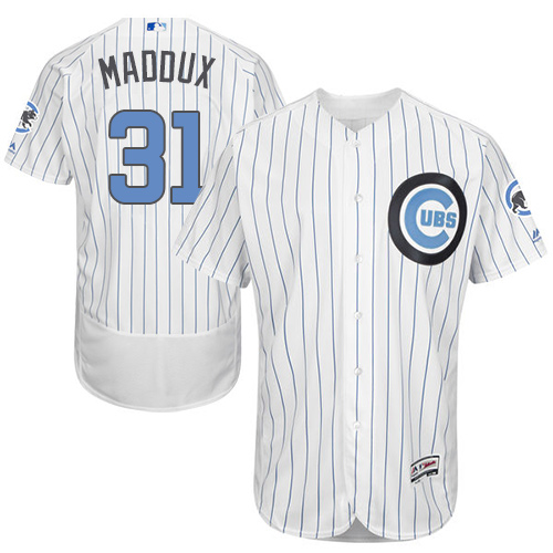 Men's Majestic Chicago Cubs #31 Greg Maddux Authentic White 2016 Father's Day Fashion Flex Base MLB Jersey