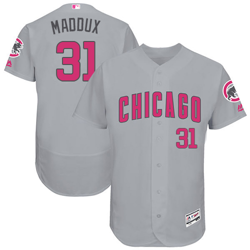 Men's Majestic Chicago Cubs #31 Greg Maddux Grey Mother's Day Flexbase Authentic Collection MLB Jersey