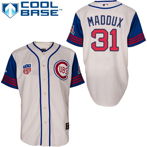 Men's Majestic Chicago Cubs #31 Greg Maddux Replica Cream/Blue 1942 Turn Back The Clock MLB Jersey