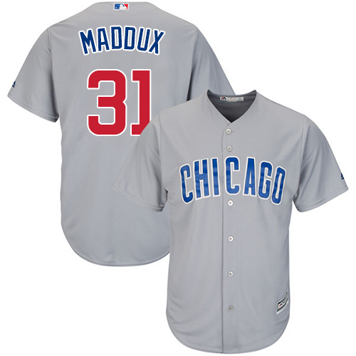 Men's Majestic Chicago Cubs #31 Greg Maddux Replica Grey Road Cool Base MLB Jersey