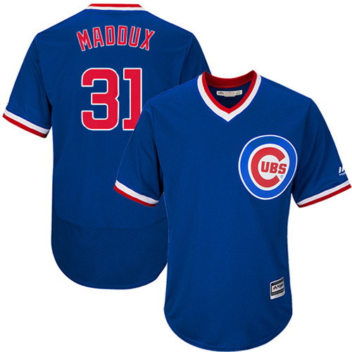 Men's Majestic Chicago Cubs #31 Greg Maddux Replica Royal Blue Cooperstown Cool Base MLB Jersey