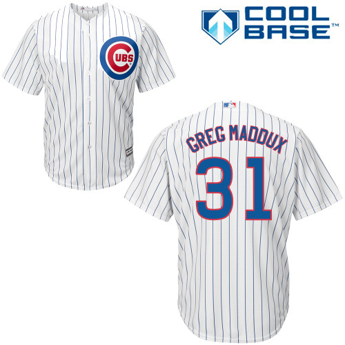 Men's Majestic Chicago Cubs #31 Greg Maddux Replica White Home Cool Base MLB Jersey