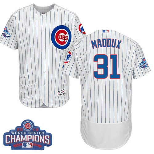 Men's Majestic Chicago Cubs #31 Greg Maddux White 2016 World Series Champions Flexbase Authentic Collection MLB Jersey