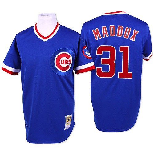 Men's Mitchell and Ness Chicago Cubs #31 Greg Maddux Replica Blue Throwback MLB Jersey