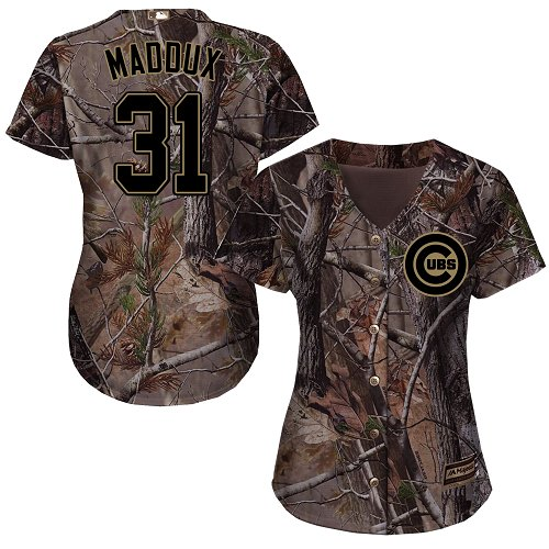 Women's Majestic Chicago Cubs #31 Greg Maddux Authentic Camo Realtree Collection Flex Base MLB Jersey