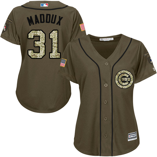 Women's Majestic Chicago Cubs #31 Greg Maddux Authentic Green Salute to Service MLB Jersey