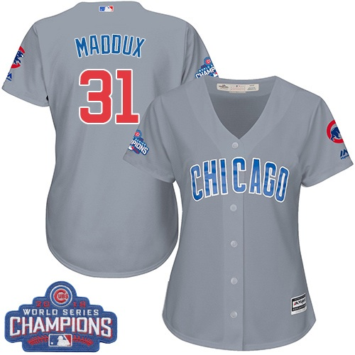 Women's Majestic Chicago Cubs #31 Greg Maddux Authentic Grey Road 2016 World Series Champions Cool Base MLB Jersey