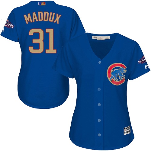 Women's Majestic Chicago Cubs #31 Greg Maddux Authentic Royal Blue 2017 Gold Champion MLB Jersey