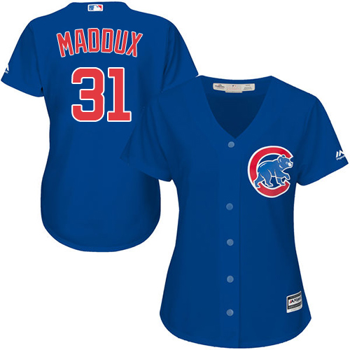 Women's Majestic Chicago Cubs #31 Greg Maddux Authentic Royal Blue Alternate MLB Jersey