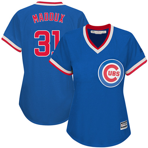 Women's Majestic Chicago Cubs #31 Greg Maddux Authentic Royal Blue Cooperstown MLB Jersey