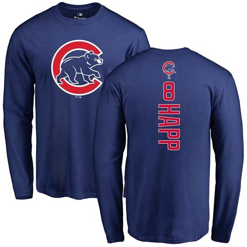 MLB Nike Chicago Cubs #8 Ian Happ Royal Blue Backer Long Sleeve T-Shirt