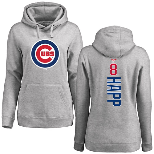 MLB Women's Nike Chicago Cubs #8 Ian Happ Ash Backer Pullover Hoodie