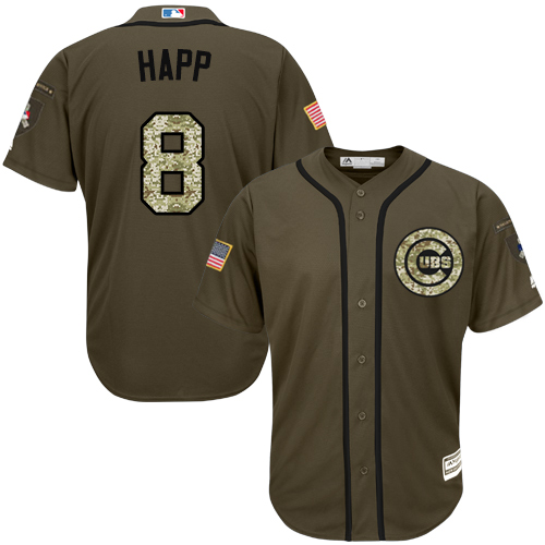 Men's Majestic Chicago Cubs #8 Ian Happ Authentic Green Salute to Service MLB Jersey