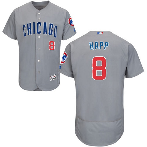 Men's Majestic Chicago Cubs #8 Ian Happ Grey Road Flexbase Authentic Collection MLB Jersey