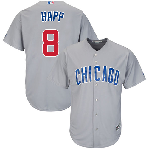 Men's Majestic Chicago Cubs #8 Ian Happ Replica Grey Road Cool Base MLB Jersey