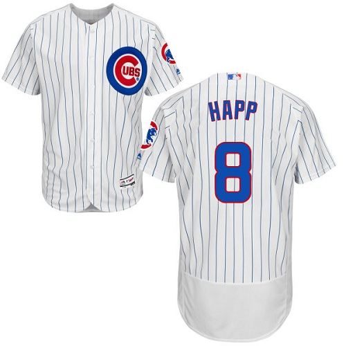 Men's Majestic Chicago Cubs #8 Ian Happ White Home Flexbase Authentic Collection MLB Jersey