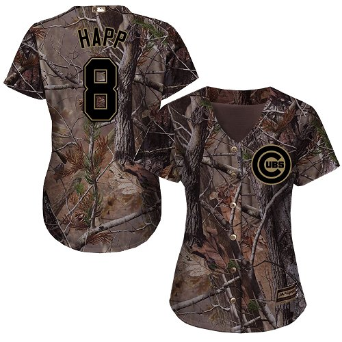 Women's Majestic Chicago Cubs #8 Ian Happ Authentic Camo Realtree Collection Flex Base MLB Jersey