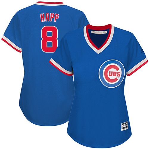 Women's Majestic Chicago Cubs #8 Ian Happ Authentic Royal Blue Cooperstown MLB Jersey