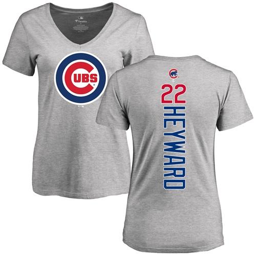 MLB Women's Nike Chicago Cubs #22 Jason Heyward Ash Backer T-Shirt