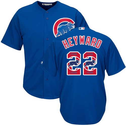 Men's Majestic Chicago Cubs #22 Jason Heyward Authentic Royal Blue Team Logo Fashion Cool Base MLB Jersey