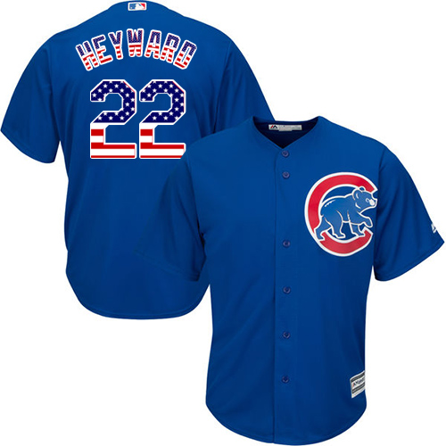 Men's Majestic Chicago Cubs #22 Jason Heyward Authentic Royal Blue USA Flag Fashion MLB Jersey
