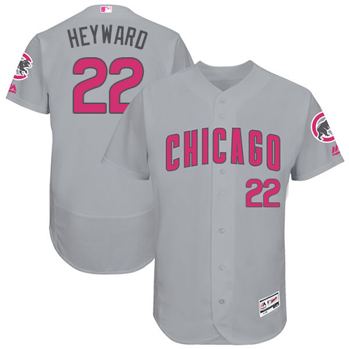 Men's Majestic Chicago Cubs #22 Jason Heyward Grey Mother's Day Flexbase Authentic Collection MLB Jersey