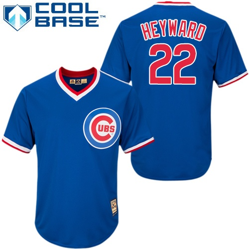 Men's Majestic Chicago Cubs #22 Jason Heyward Replica Blue/White Strip Cooperstown Throwback MLB Jersey