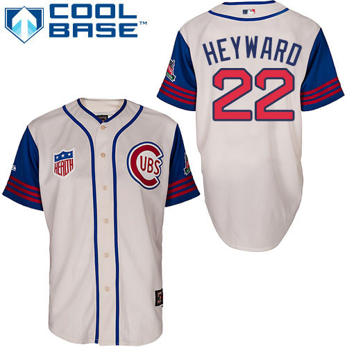 Men's Majestic Chicago Cubs #22 Jason Heyward Replica Cream/Blue 1942 Turn Back The Clock MLB Jersey