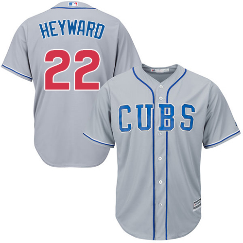 Men's Majestic Chicago Cubs #22 Jason Heyward Replica Grey Alternate Road Cool Base MLB Jersey