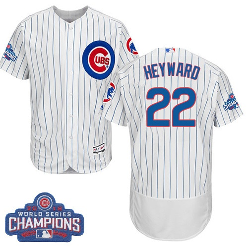 Men's Majestic Chicago Cubs #22 Jason Heyward White 2016 World Series Champions Flexbase Authentic Collection MLB Jersey