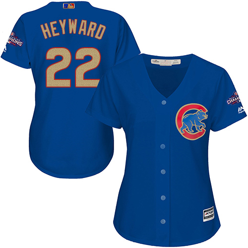 Women's Majestic Chicago Cubs #22 Jason Heyward Authentic Royal Blue 2017 Gold Champion MLB Jersey