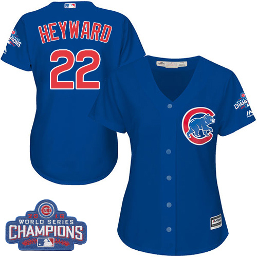 Women's Majestic Chicago Cubs #22 Jason Heyward Authentic Royal Blue Alternate 2016 World Series Champions Cool Base MLB Jersey