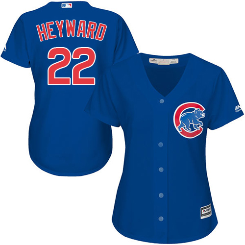 Women's Majestic Chicago Cubs #22 Jason Heyward Authentic Royal Blue Alternate MLB Jersey