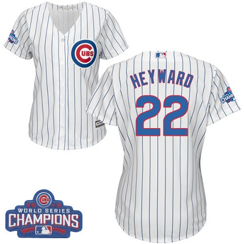 Women's Majestic Chicago Cubs #22 Jason Heyward Authentic White Home 2016 World Series Champions Cool Base MLB Jersey
