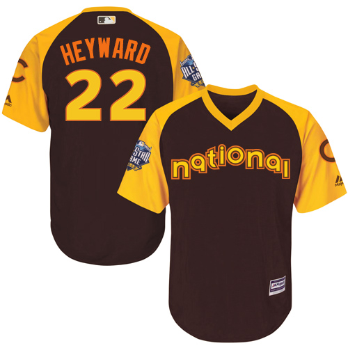 Youth Majestic Chicago Cubs #22 Jason Heyward Authentic Brown 2016 All-Star National League BP Cool Base MLB Jersey