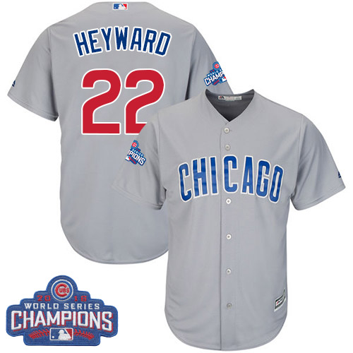Youth Majestic Chicago Cubs #22 Jason Heyward Authentic Grey Road 2016 World Series Champions Cool Base MLB Jersey